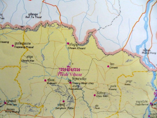The Province of Preah Vihear with the Thai border - no reference to the Temple