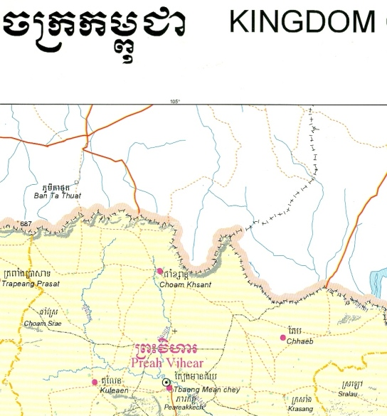 Preah Vihear not mentioned, border shown in favor of Thailand