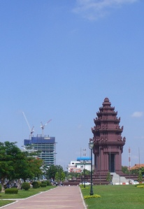 Independence Monument and one-third built 42-stories Golden Double Tower